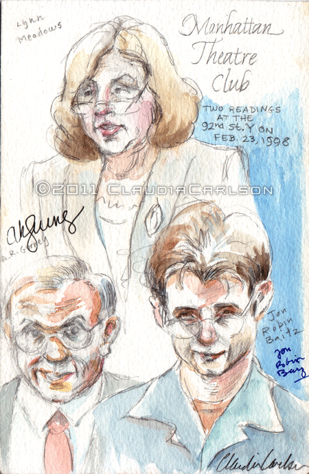 Sketch of Lynn Meadows, A.R. Gurney, Jon Robin Baitz, at Manhattan Theatre Club 2-23-1998.