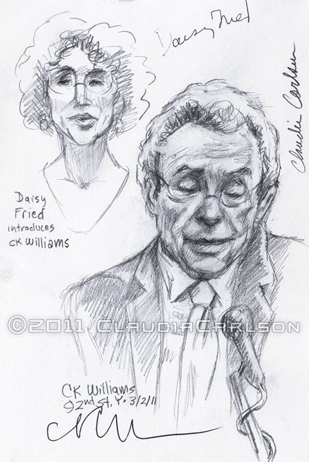 sketch of Daisy Fried introducing C.K. Williams at 92nd St. Y, 3-2-2011.