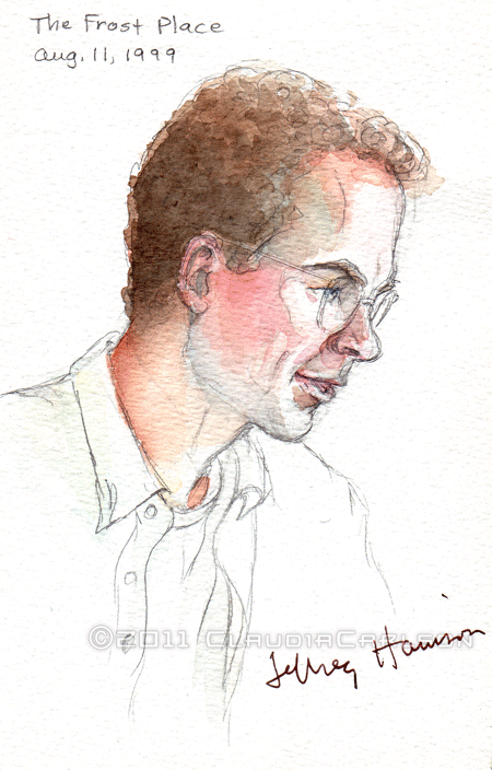 Sketch of Jeffrey Harrison reading at The Frost Place, 8-11-1999.