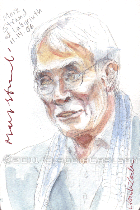 Sketch of Mark Strand reading at Book Culture, 11-14-2006