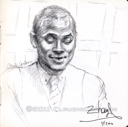 Sketch of Terrance Hayes reading at 92nd St. Y, 3-26-2010.