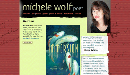 Michele Wolf's website designed by Claudia Carlson